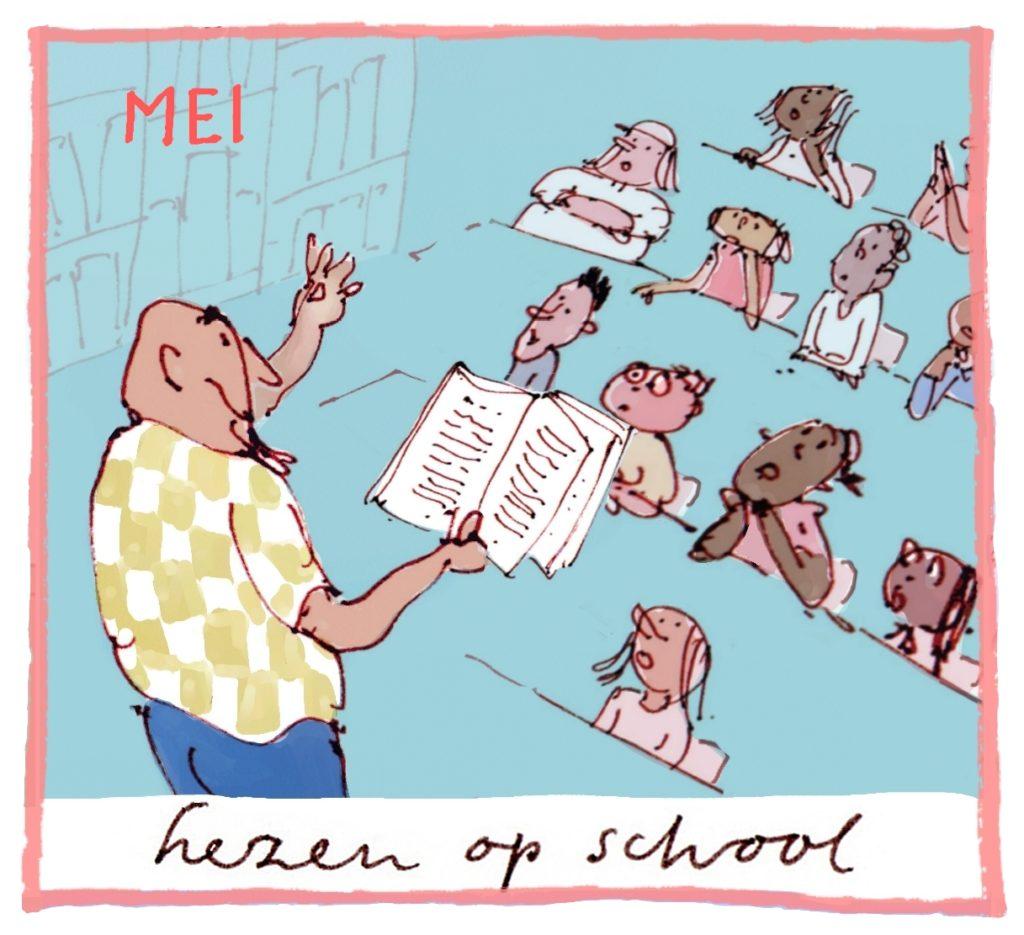 Het thema van mei is: lezen op school.