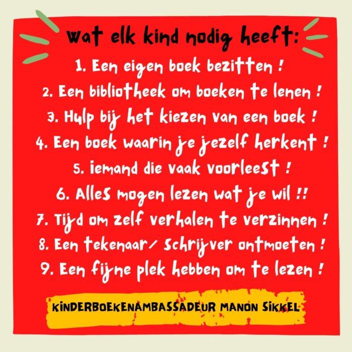 De lijst - 'Wat elk kind nodig heeft' van Kinderboekenambassadeur Manon Sikkel
