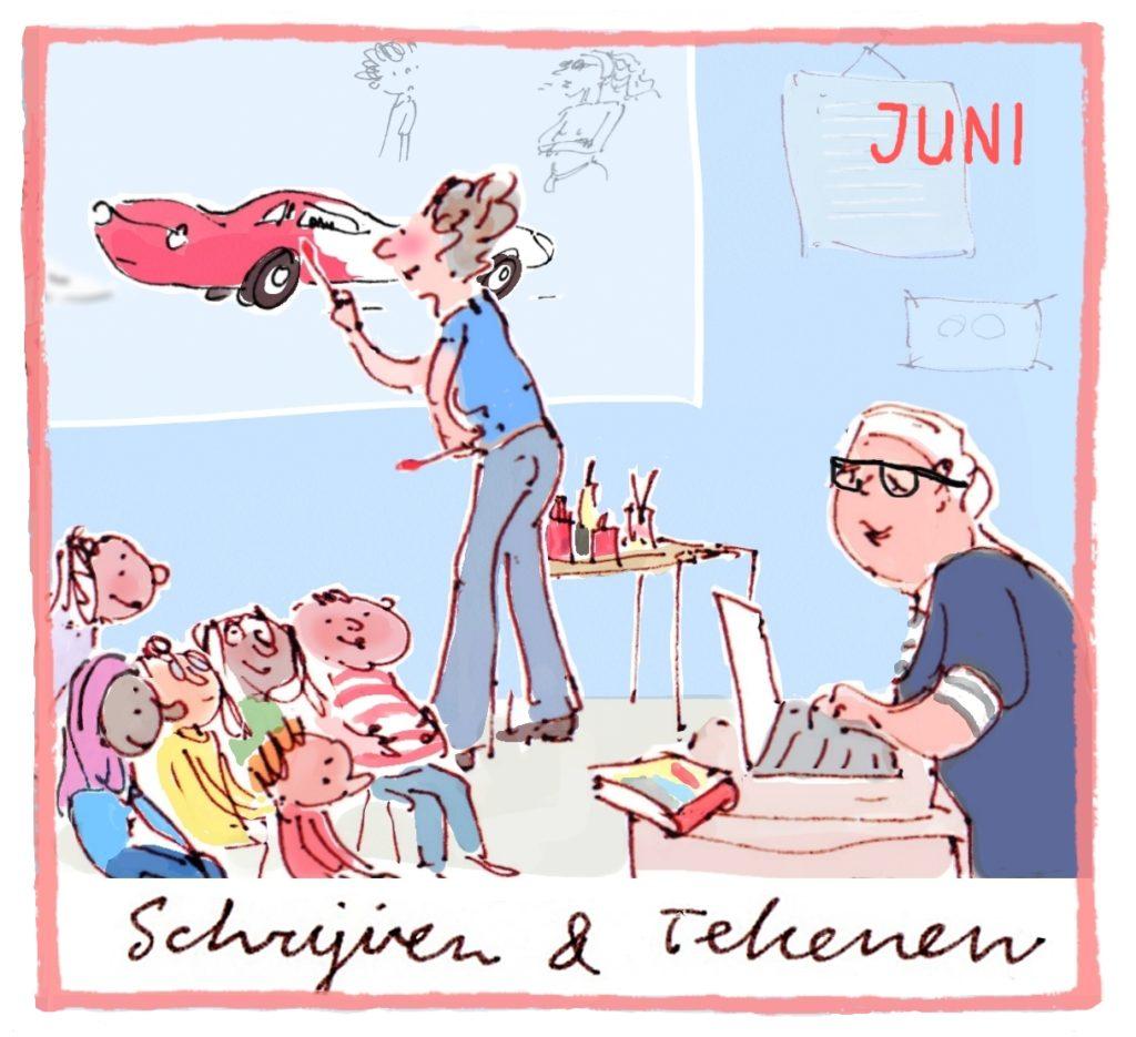 Het thema van juni is: schrijven en tekenen.